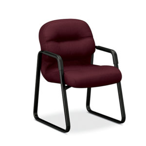 HON PillowSoft burgandy sled base chair