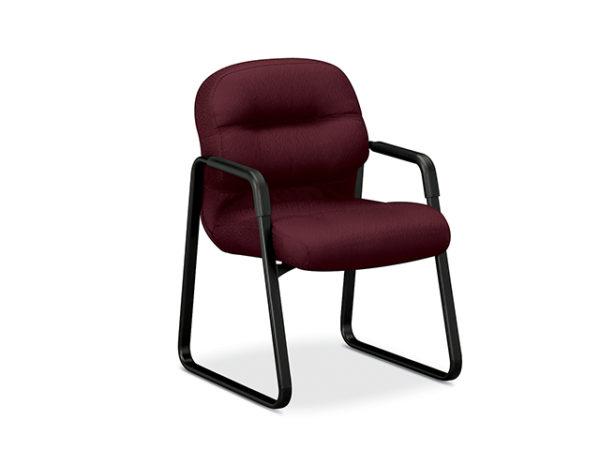 HON PillowSoft burgandy sled base chair