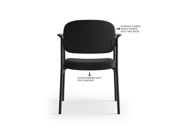 accomodate guest chair black fabric back with features
