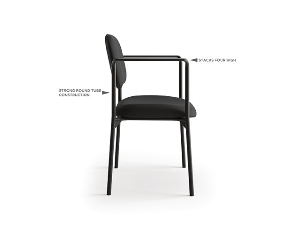 accomodate guest chair black fabric side with features