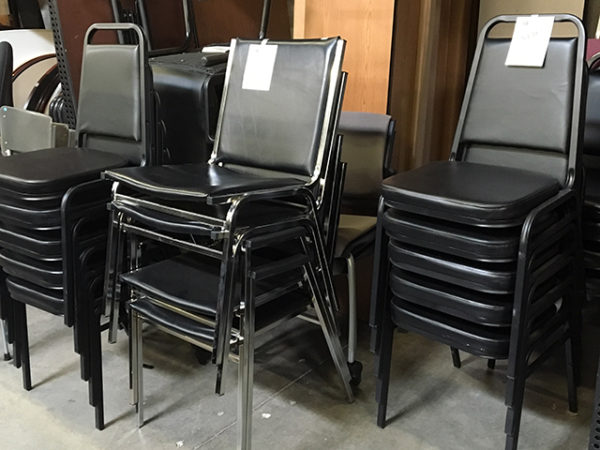 used black stack chairs