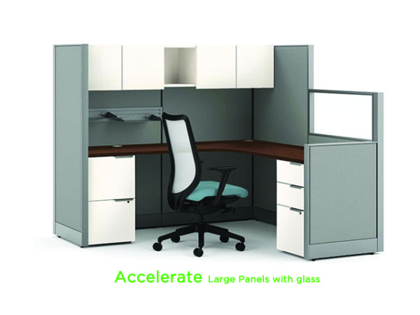 HON ACCELERATE WORKSTATION large panels with glass