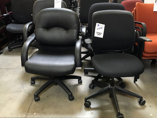 black leather task chairs