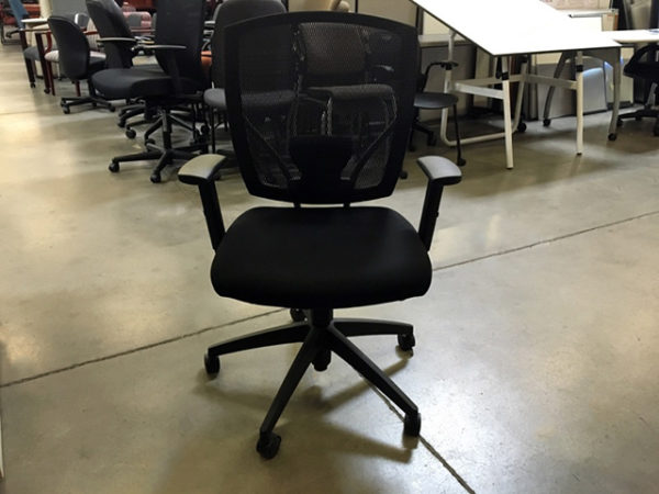 Offices To Go Task Chair - black fabric with mesh bac