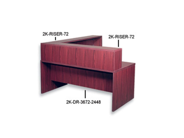 case 2 k reception desk risers mahogany