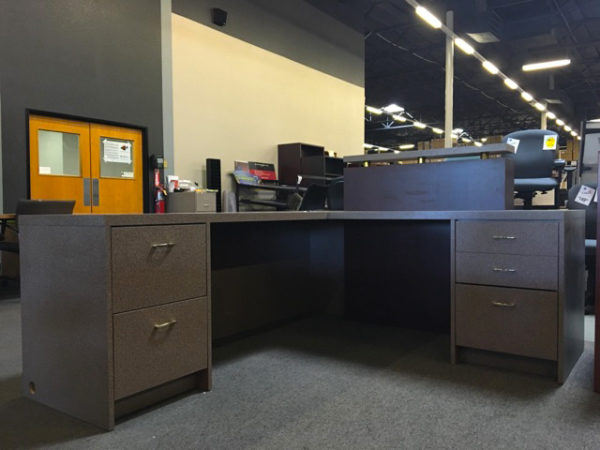 used reception desk mahogany laminate front view