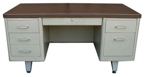 metal tank desk wood laminate work surface