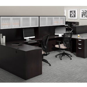 otg l shape desks with frosted glass hutch