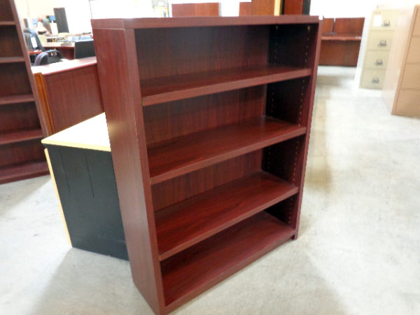 used-laminate-bookcase-mahogany-4-shelf