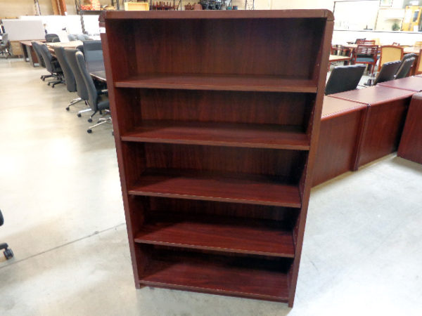 used-laminate-bookcase-mahogany-5-shelf