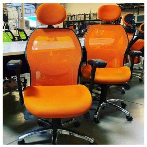 Orange mesh task chair
